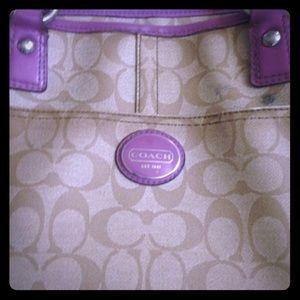 Coach purple tote handbag